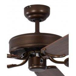 Ventilatore da soffitto, Potkuri, 132cm, classico, bronzo antico laccato, pale noce/paglia di Vienna, senza luce, Pépeo