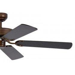 Ventilatore da soffitto, Potkuri, 132cm, classico, bronzo antico, pale nere con o senza strisce argentate, senza luce, Pépeo