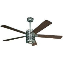 Ventilatore da soffitto, ALU AL, 132cm, alluminio spazzolato/ ciliegio/ argento, con luce, Casafan.