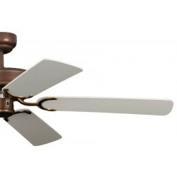 Ventilatore da soffitto, Potkuri, 132cm, classico, bronzo antico laccato, pale bianche c/s paglia di Vienna, senza luce, Pépeo