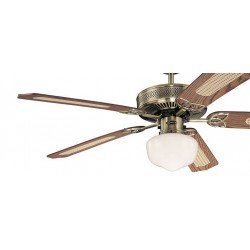 Ventilatore da soffitto, Monarch supreme, 132 cm,  ottone antico/ rovere y rattan/mogano, con luce.
