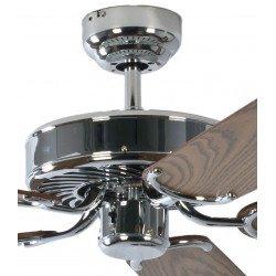 Ventilatore da soffitto, Potkuri, 132cm, classico, acciaio, pale rovere c/s paglia di Vienna, senza luce, Pépeo