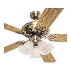 Ventilatore da soffitto, Bouquet, 132cm, ottone antico/rovere/mogano, con luce.