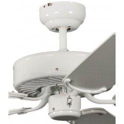 Ventilatore da soffitto, Potkuri, 132cm, classico, corpo laccato bianco, pale bianche c/s paglia di Vienna, senza luce, Pépeo
