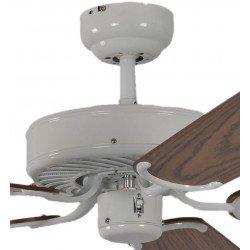 Ventilatore da soffitto, Potkuri, 132cm, classico, corpo laccato bianco, pale rovere c/s paglia di Vienna, senza luce, Pépeo