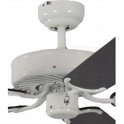 Ventilatore da soffitto, Potkuri, 132cm, classico, corpo laccato bianco, pale nere c/s due strisce argentate, senza luce, Pépeo
