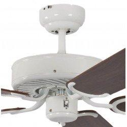 Ventilatore da soffitto, Potkuri, 132cm, classico, corpo laccato bianco, noce c/s paglia di Vienna, senza luce, Pépeo