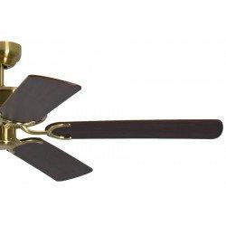 Ventilatore da soffitto, Potkuri, 132cm, classico, ottone satinato, pale mogano c/s paglia di Vienna, senza luce, Pépeo