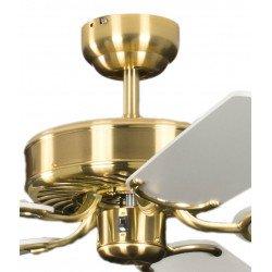Ventilatore da soffitto, Potkuri, 132cm, classico, ottone satinato, pale bianche c/s paglia di vienna, senza luce, Pépeo