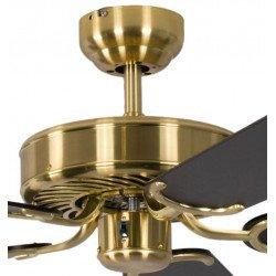 Ventilatore da soffitto, Potkuri, 132cm, classico, ottone satinato, pale nere c/s strisce argentate, senza luce, Pépeo