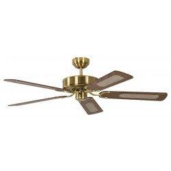 Ventilatore da soffitto, Potkuri, 132cm, classico, ottone satinato, pale rovere c/s paglia di Vienna, senza luce, Pépeo
