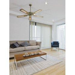Ventilatore da soffitto, Miami, 132cm, classico, senza luce, ottone anticato , pale noce con o senza inserti in paglia di Vienn