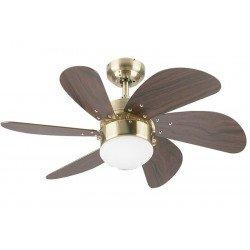 Ventilatore da soffitto, Turbo Swirl, 76 cm, ottone antico/mogano, con luce.