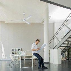 Ventilatore da soffitto, Modulo Mp3, 150 cm, stile industriale, metallo bianco, reversibile, Orieme.