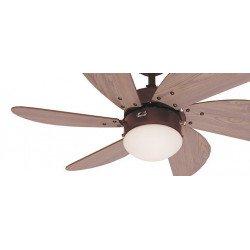 Ventilatore da soffitto, Turbo swirl , 76 cm, acciaio marrone/pino, con luce.