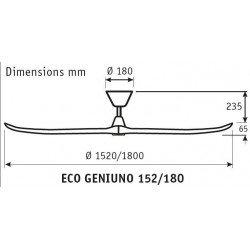 Ventilatore da soffitto, ECO Genuino, 152 cm, pale legno natulare, corpo acciaio cromato/satinato, DC, iper silenzioso, Casafan.
