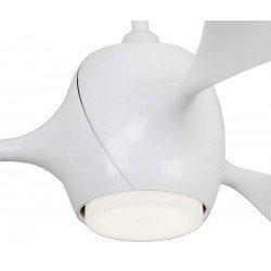 Ventilatore da soffitto, Eco fiore, 142 cm, moderno, bianco lucido, con luce, reversibile,