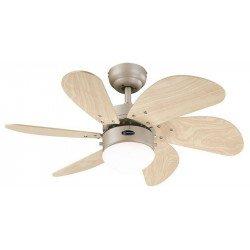 Ventilatore a soffitto, 76 cm., Con la luce. alluminio del motore. lame di rovere chiaro.