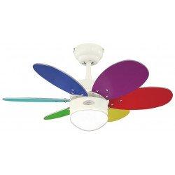 Ventilatore da soffitto, Turbo swirl color, 76 cm, corpo bianco/pale multicolor, con luce.