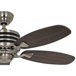 Ventilatore da soffitto, Eco Gamma, 103 cm, moderno, acciaio cromato, pale noce e nere, iper silenzioso, Casafan