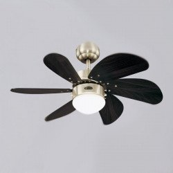 Ventilatore da soffitto, Turbo swirl wengé, 76 cm, acciaio satinato/wengé, con luce.