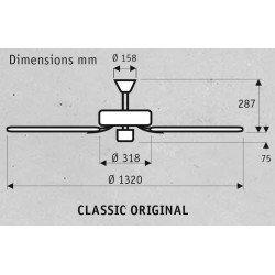 """Ventilatore da soffitto, """"Classic Original"""", 132 cm, corpo in ghisa laccato nero, pale noce/ciliegia, , Hunter."""