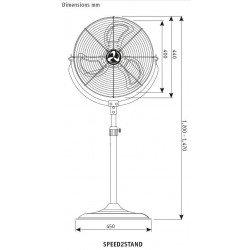 Ventilatore con piedistallo ad alte prestazioni, Speed2stand, 40cm, 110 W max, ultra potente, Casafan.