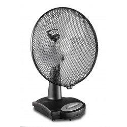 Ventilatore da tavolo, Greyhound TV 36-SL AZ, 30cm, nero opaco, silenzioso e con meccanismo di oscillazione, Casafan.