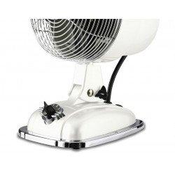 Ventilatore da tavolo, Retrojet WE, stile retró, bianco lucido, con meccanismo di oscillazione, Casafan.