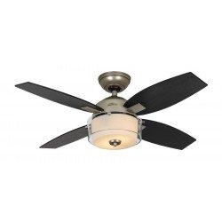 Ventilatore da soffitto, Central Park PR, 107cm, classico, acciaio satinato , pale rovere nero/rovere tostato, con luce, Hunter.