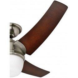 Ventilatore da soffitto, Eurus, 137cm, moderno, acciaio cromato, pale faggio color caffé, con luce, Hunter.
