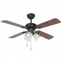Ventilatore da soffitto, Lisboa, 107cm, corpo acciaio nero, pale noce scuro e mogano, con luce, Faro.