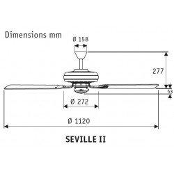 Ventilatore da soffitto, Seville II BN, 112cm, classico, cromo spazzolato, acero chiaro o grigio, senza luce, Hunter.