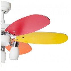 Ventilatore da soffitto, Colore, 92cm, moderno, bianco e arcobaleno, con luce, reversibile, Lba Home.