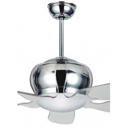 Ventilatore da soffitto, Flora Acryl, 127 cm, design, trasparente, acciaio, con luce, Lba Home.