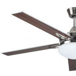 Ventilatore da soffitto moderno da 132 cm con controllo reversibile a luce LED e pale grigie o noce