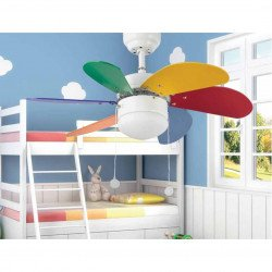 Ventilatore da soffitto, Palao multicolor, 81cm, moderno, corpo bianco/pale multicolor, con luce, Faro.