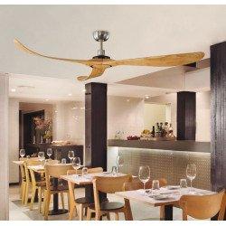Ventilatore da soffitto, Fly, 182cm, moderno, acciaio spazzolato, abete, senza luce, Lba Home.