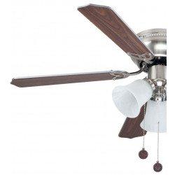 Ventilatore da soffitto, Westland 107, 107cm, classico, nichel, grigio/quercia, con luce, Lba Home.