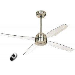Ventilatore da soffitto, Libelle BN, 132cm, cromo spazzolato/ acrilico trasparente, design, CON telecomando,Casafan.