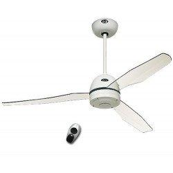 Ventilatore da soffitto, Libelle WE , 132cm, corpo bianco/pale acrilico trasparenti, design, CON telecomando, Casafan.