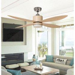 Ventilatore da soffitto, Mistral, 132 cm , moderno, luce LED,acciaio e pale in bambú, reversibile, Lba Home.