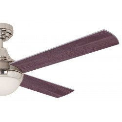 Ventilatore da soffitto, Effy Chr Venge, 122 cm, moderno, acciaio cromato/ pale grigie o Wengé, con luce, Lba Home.