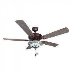 Ventilatore da soffitto, Tiffany, 132cm, classico, noce e pino, con luce, Lba Home.