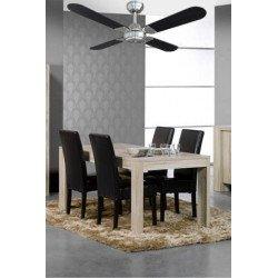 Ventilatore da soffitto, Owando, 106cm, moderno, cromato, pale nere o grigio argenteo, senza luce, Eurem.