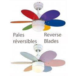 Ventilatore da soffitto, Palao Pastel, 76cm, moderno, multicolore brillate/pastello, con luce, reversibile, Lba Home.