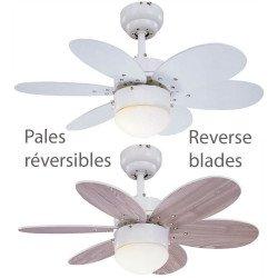Ventilatore da soffitto, Palao WhiteHetre, 76cm, moderno, bianco/pino, con luce, reversibile, Lba Home.
