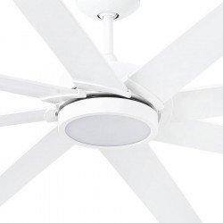 Ventilatore da soffitto, Century Led Blanc, 165cm, industriale, pale mdf e corpo bianco, con luce, Faro.