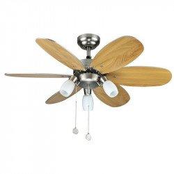 Ventilatore da soffitto, Tones, 92cm, moderno, pale acero/grigio argento, con luce, reversibile, Lba Home.
