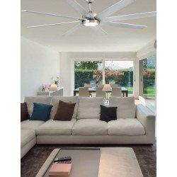 Ventilatore da soffitto, Century Led argent, 165cm, industriale, corpo e pale nichel opaco, con luce, Faro.